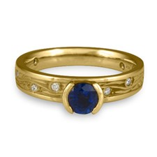 Extra Narrow Starry Night Engagement Ring with Gems  in 18K Yellow Gold