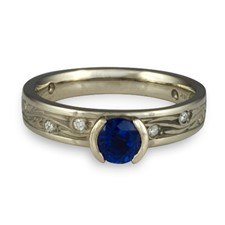 Extra Narrow Starry Night Engagement Ring with Gems  in Palladium