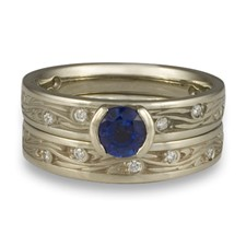 Extra Narrow Starry Night Bridal Ring Set with Gems  in Sapphire