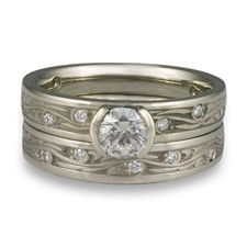 Extra Narrow Starry Night Bridal Ring Set with Gems  in Palladium