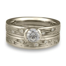 Extra Narrow Starry Night Bridal Ring Set with Gems  in Platinum