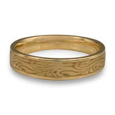 Narrow Starry Night Wedding Ring in 14K Yellow Gold