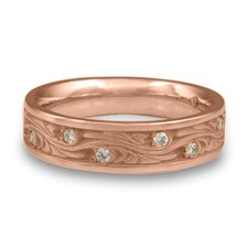 Narrow Starry Night Wedding Ring with Gems  in 14K Rose Gold