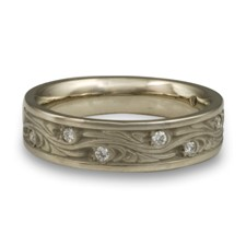 Narrow Starry Night Wedding Ring with Gems  in Diamond