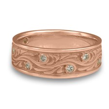 Wide Starry Night Wedding Ring with Gems  in 14K Rose Gold