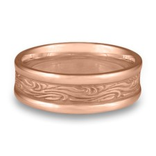 Narrow Self Bordered Starry Night Wedding Ring in 14K Rose Gold