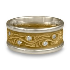 Wide Two Tone Starry Night Wedding Ring with Gems in Diamond