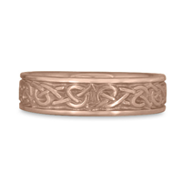 Narrow Celtic Hearts Wedding Ring in 14K Rose Gold
