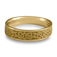 Narrow Celtic Hearts Wedding Ring in 14K Yellow Gold