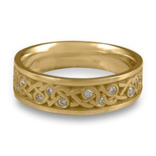 Narrow Celtic Hearts Wedding Ring with Gems  in 14K Yellow Gold