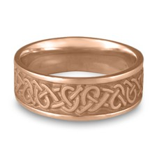 Wide Celtic Hearts Wedding Ring in 14K Rose Gold