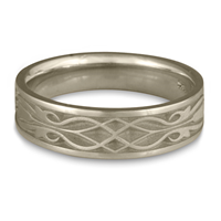 Narrow Tulip Braid Wedding Ring in 14K White Gold