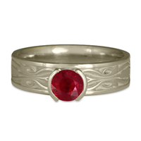 Narrow Tulip Braid Engagement Ring in Ruby