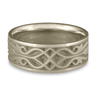 Wide Tulip Braid Wedding Ring in 14K White Gold