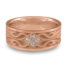 Wide Tulip Braid Wedding Ring with Gems in 14K Rose Gold