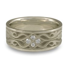 Wide Tulip Braid Wedding Ring with Gems in 14K White Gold