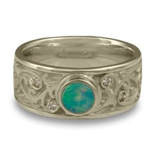 Continuous Garden Gate Wedding Ring with Opal in 14K White Gold
