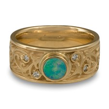 Continuous Garden Gate Wedding Ring with Opal in 14K Yellow Gold