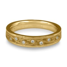 Extra Narrow Continuous Garden Gate Wedding Ring with Gems in 311 Diamond
