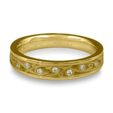 Extra Narrow Continuous Garden Gate Wedding Ring with Gems in 18K Yellow Gold