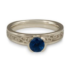 Extra Narrow Continuous Garden Gate Engagement Ring in Sapphire