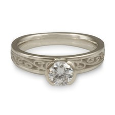 Extra Narrow Continuous Garden Gate Engagement Ring in Platinum