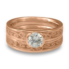 Extra Narrow Continuous Garden Gate Bridal Ring Set in 14K Rose Gold