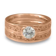 Extra Narrow Continuous Garden Gate Bridal Ring Set in 18K Rose Gold