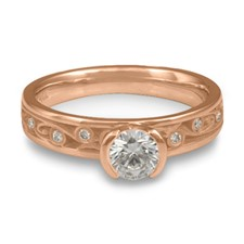 Extra Narrow Continuous Garden Gate Engagement Ring with Gems in 18K Rose Gold