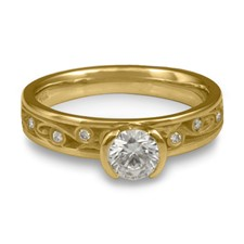 Extra Narrow Continuous Garden Gate Engagement Ring with Gems in 18K Yellow Gold