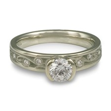Extra Narrow Continuous Garden Gate Engagement Ring with Gems in Palladium