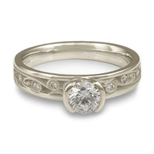 Extra Narrow Continuous Garden Gate Engagement Ring with Gems in Platinum