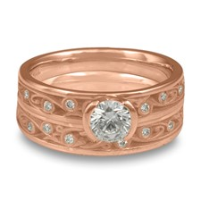 Extra Narrow Continuous Garden Gate Bridal Ring Set with Gems  in 14K Rose Gold
