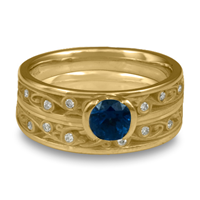 Extra Narrow Continuous Garden Gate Bridal Ring Set with Gems  in Sapphire