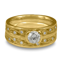 Extra Narrow Continuous Garden Gate Bridal Ring Set with Gems  in 18K Yellow Gold