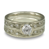 Extra Narrow Continuous Garden Gate Bridal Ring Set with Gems  in Palladium