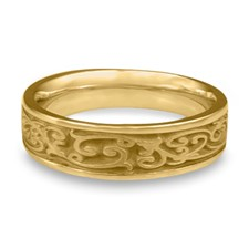 Narrow Continuous Garden Gate Wedding Ring in 14K Yellow Gold