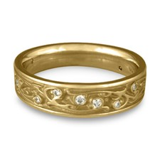 Narrow Continuous Garden Gate Wedding Ring with Gems in 311 Diamond