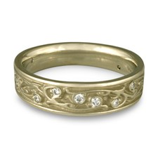 Narrow Continuous Garden Gate Wedding Ring with Gems in 18K White Gold