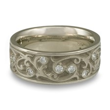 Wide Continuous Garden Gate Wedding Ring with Gems  in 14K White Gold