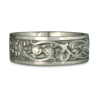 Wide Continuous Garden Gate Wedding Ring with Gems  in Palladium