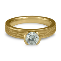 Extra Narrow Papyrus Engagement Ring in 14K Yellow Gold