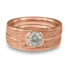 Extra Narrow Papyrus Bridal Ring Set in 14K Rose Gold