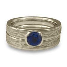 Extra Narrow Papyrus Bridal Ring Set in Sapphire