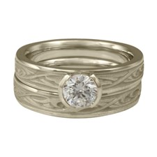 Extra Narrow Papyrus Bridal Ring Set in 14K White Gold