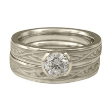 Extra Narrow Papyrus Bridal Ring Set in Platinum