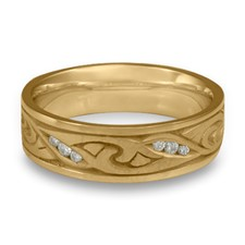 Narrow Papyrus Wedding Ring with Gems  in 311 Diamond