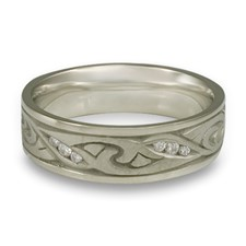 Narrow Papyrus Wedding Ring with Gems  in Diamond