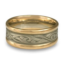 Narrow Two Tone Papyrus Wedding Ring in 14K Yellow Gold Borders w 14K White Gold Center
