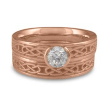 Extra Narrow Love Knot Bridal Ring Set in 14K Rose Gold